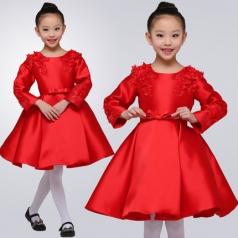 小学生合唱演出服装女款红色合唱蓬蓬裙舞台演出服装定制款!