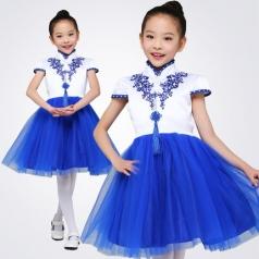 学生合唱服舞台比赛演出服装女款青花合唱纱裙舞台定制款式