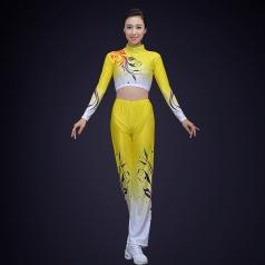 校园新款健美操演出服装黄色碎花氨纶健美操演出服装定制!