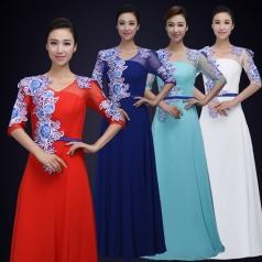 舞台合唱演出服装女款中式风格合唱舞台演出服装定制!