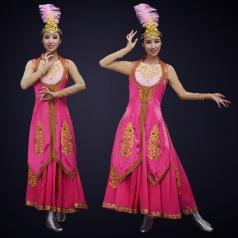 新款新疆民族舞蹈演出服装大型舞台演出节目新疆舞蹈裙定制