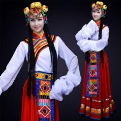红色新款舞台演出服装成人藏族舞蹈演出服装定制!