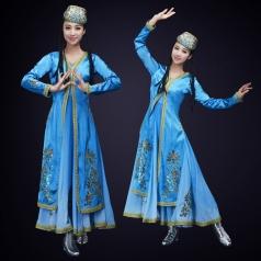 新款民族舞蹈演出服装大型舞台新疆舞蹈演出服装定制!