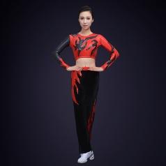 校园健美操演出服装大红色火纹女子健美操演出服装定制!
