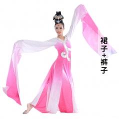 中式古典舞蹈演出服装水袖舞蹈表演服装红色女款舞蹈演出服定制!