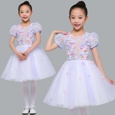 儿童合唱演出服装女款白色舞台合唱服装定制新款!