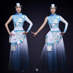 舞台演出服装民族舞蹈表演服装浅蓝色藏族舞蹈演出服装定制!