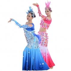 舞台演出服装民族表演服装定制新款傣族女款舞蹈表演服装定制