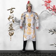 旅游景区古典将军真人秀将军盔甲银色古典元帅/将军盔甲定制!