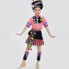 校园舞蹈演出服装女款阿昌族舞蹈服儿童舞蹈表演服装定制款!