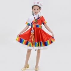 校园儿童演出服装民族舞蹈表演服装藏族儿童舞蹈服装定制款式!