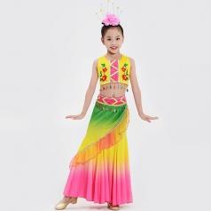 校园舞蹈演出服装儿童傣族舞蹈演出服装黄色傣族舞蹈服装定制款式!