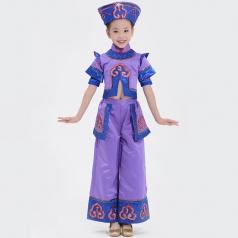 2018校园新款舞蹈演出服装女童达翰尔族舞蹈服装舞台表演服定制!