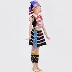 新款民族舞蹈演出服装儿童校园艺术演出服德昂族舞蹈服装定制