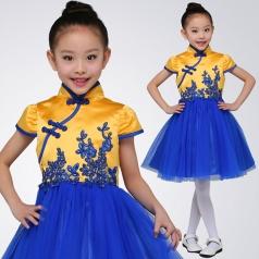 校园小学生合唱演出服装中国风儿童纱织合唱表演服装定制