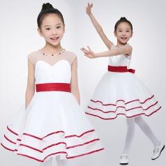 儿童合唱演出服装白色条纹合唱比赛服装团体合唱服装定制工厂