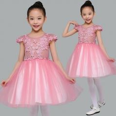 儿童合唱演出服装桃红色合唱演出服装蓬蓬裙表演服装定制款式