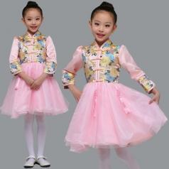 儿童中式合唱演出服装粉红色女童蓬蓬裙合唱比赛服装定制款式