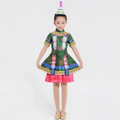民族演出服装定制儿童舞蹈比赛裕固族小学生舞台表演服装定制