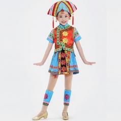 儿童舞蹈演出服装仡佬族舞蹈服装小学生民族舞蹈服装定制