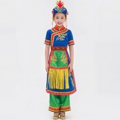 校园儿童舞蹈演出服装舞台民族服装锡伯族舞蹈演出服装定制!