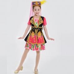 校园西部文化艺术演出服装儿童民族舞蹈服装乌兹别克演出服装定制!