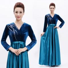 新款宝蓝色合唱服长裙女演出服装成人丝绒合唱指挥服装主持人长款晚礼服