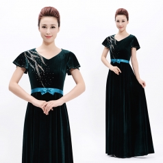 新款成人合唱服长裙丝绒晚礼服指挥服装团体合唱团舞台装定制