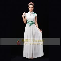 新款白色合唱演出服装中老年合唱服装款式白色长裙合唱服装