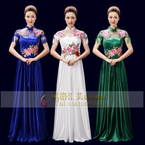 新款女士合唱服装长裙款式中老年合唱服装定制女士合唱服装
