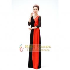 新款红黑色合唱服长裙女演出服成人合唱指挥服