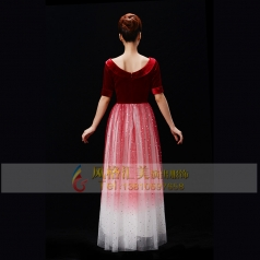新款成人合唱服装款式女士长裙合唱服装红歌合唱演出服装
