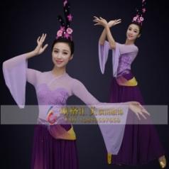 经典剧目《且看行云》舞蹈演出服装紫色艺考中国古韵舞台演出服装定制