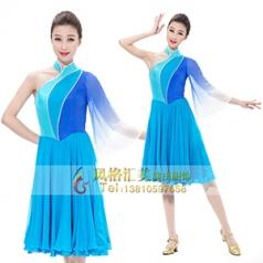艺考蓝色舞蹈演出服装真丝古典舞蹈表演服装设计新款舞台舞蹈演出服装设计定制!