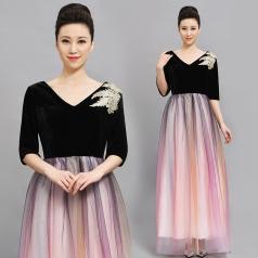 丝绒合唱演出服长裙女中老年合唱团服装显瘦气质独唱服伴娘晚礼服